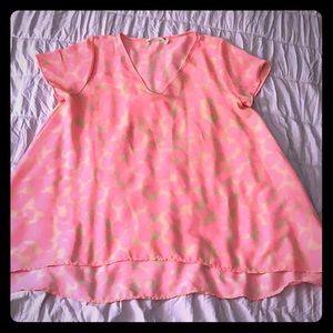Hot Pink animal print loose fitting top